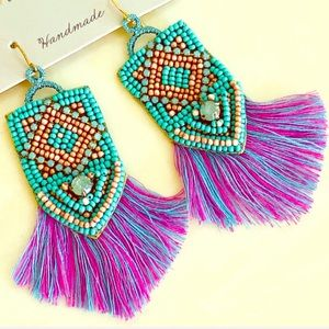 NWT Deepa Gurnani Stunning Beaded Tassel Earrings